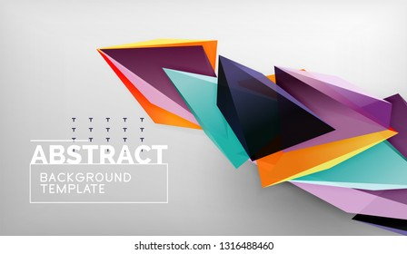 3d geometric triangular shapes abstract background, color triangles composition on grey backdrop, business or hi-tech conceptual wallpaper, vector illustration