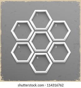 3d geometrical numbered banners on grunge background.Vector design template