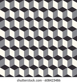 3D geometrical seamless pattern in beige, gray and black tones
