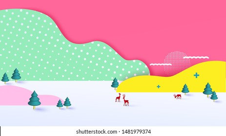 3D geometry colorful pastel fantasy Christmas background with copy-space for your product. Empty space for advertising. Modern abstract cover, Postcard. Paper cut style