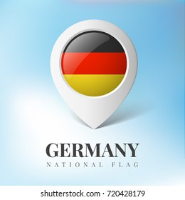 3d Germany flag map marker location pin vector realistic illustration isolated background