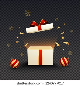 3d gift box illustration with glossy baubles and snowflakes on black png background.
