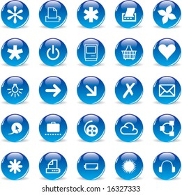3d Glass Round Blue Icons