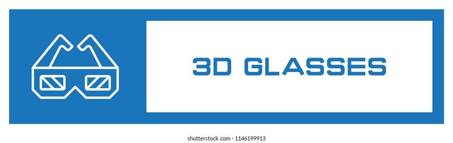 3D Glasses Fill Icon Concept
