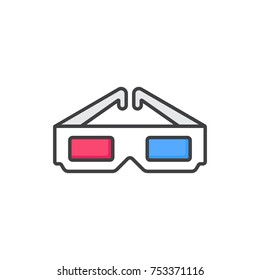 3D glasses flat line colored icon.