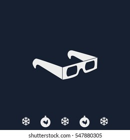 3d glasses flat vector icon.