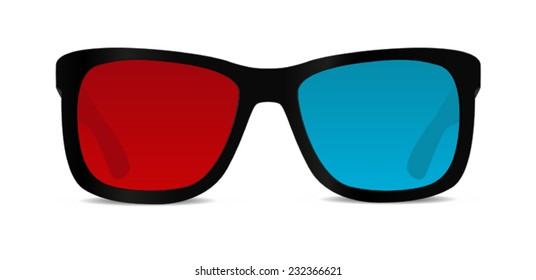 3d glasses front view - vector