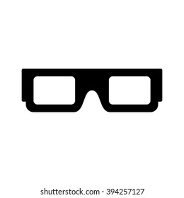 3d glasses icon. Black icon isolated on white background. 3d glasses silhouette. Simple icon. Web site page and mobile app design element.