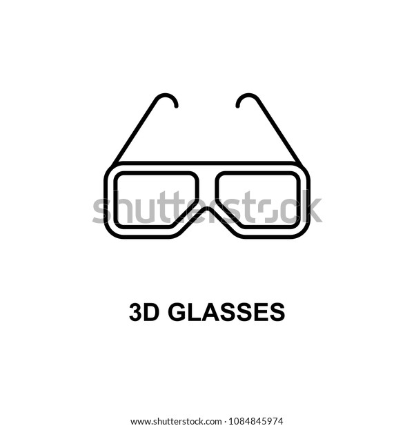 3d glasses icon. Element of cinema for mobile concept and web apps. Thin line 3d glasses icon can be used for web and mobile. Premium icon on white background