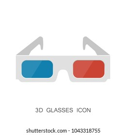 3D Glasses Icon isolated on White. Vector Illustration. Realistic Style Simple Icon. Cinema Movie Film Watching Design Element.
