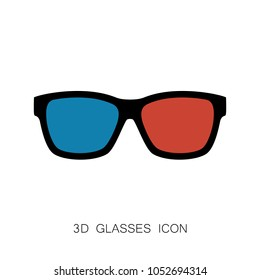 3D Glasses Icon isolated on White. Vector Illustration. Flat Simple Icon. Cinema Movie Film Watching Design Element.