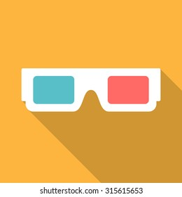 3d glasses icon with long shadow. Flat design style. 3d glasses silhouette. Simple icon. Modern flat icon in stylish colors. Web site page and mobile app design element.