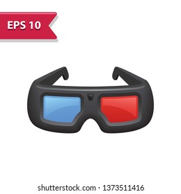 3D Glasses Icon. Professional, pixel-aligned icon in realistic colors.