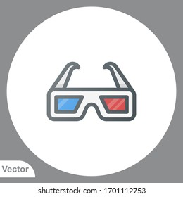 3d glasses icon sign vector,Symbol, logo illustration for web and mobile