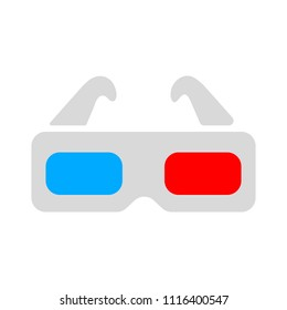 3d glasses icon - vector movie cinema illustration, eye glasses - illusion sign, vision