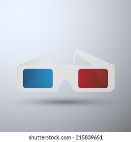 3D glasses isolated on background, vector illustration