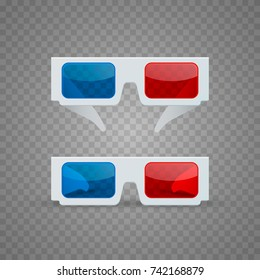 3D glasses object set on a transparent background. Vector illustration