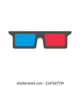 3D glasses on a white background, vector icon, flat illustration.