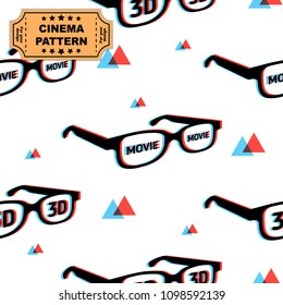 3d glasses pattern with chromatic aberration and movie words, print for graphic design, fabric, fashion. Vector on white background with red and blue triangles