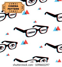 3d glasses pattern with chromatic aberration, eyes and cinema words, print for graphic design, fabric, fashion. Vector on white background with red and blue triangles