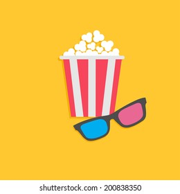 3D glasses and popcorn. Cinema icon in flat design style. Vector illustration