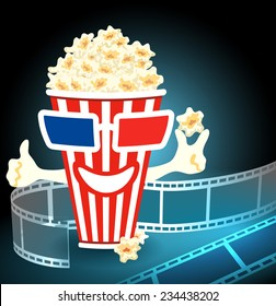 3d glasses put on a box with popcorn, who smiles