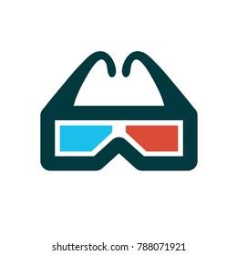 3d glasses symbol - cinema movie