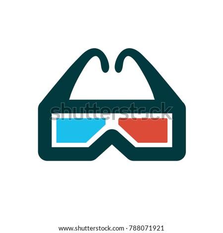 3 D Glasses Symbol Cinema Movie Stock Vector Royalty Free