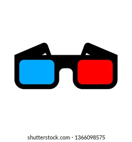 3d glasses for watching movies on a white background, vector