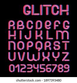 3d Glitch effect font. Trending 2021 typerface design. For music events, banner, flyer, cover design.