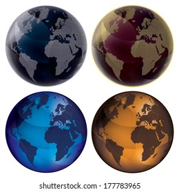 3D Globe - Color set: blue, dark blue, orange and vinous. Map of Earth planet. Isolated on white background.