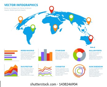 3d globe infographics. World map information graphic. Infographic diagram maps with chart. Communications technology vector template earth digital concept banner for banner or phone