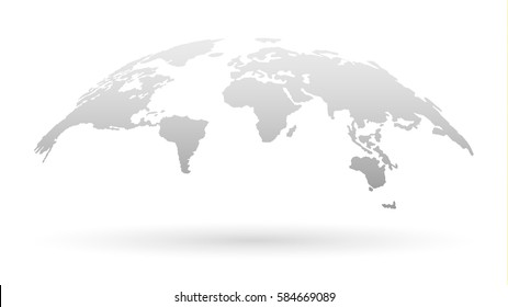 3D Globe Map Template Monochrome Design for Education, Science, Web Presentations. Vector Illustration