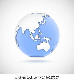 3d globe in white and blue colors. 3d vector illustration with continents Eurasia, Europe, Asia, Australia, Oceania on light gray background