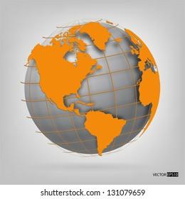 3d globe of the world. EPS10 vector illustration.