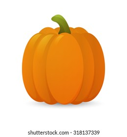3D glossy cartoon pumkin. Vector EPS10 illustration.