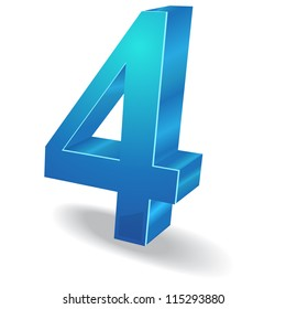3d Glossy Four 4 Number  Vector