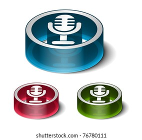 3d glossy mic icon, includes 3 color versions.