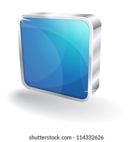 3d Glossy Stop Rounded Rectangular Button Vector Icon