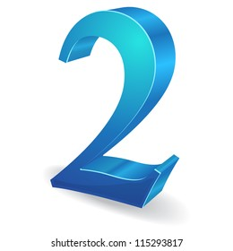 3d Glossy Two 2 Number  Vector