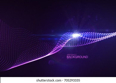 3D glowing neon digital wave of particles and lens flare light effect. Abstract technology background. Futuristic vector illustration of shiny flowing purple substance. Virtual cyberspace