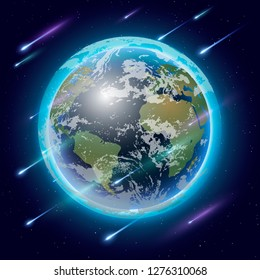 3D glowing and shining planet Earth from space with glowing stars and falling star, meteor, shining star.