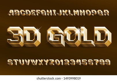 3D gold alphabet font. Shiny golden beveled letters and numbers. Stock vector typeface for your design.