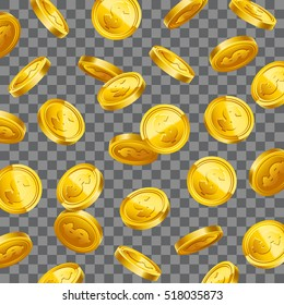 3d Gold coins falling on transparent background. Eps10 vector.