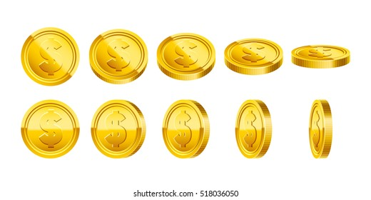 3d Gold coins illustration. Eps10 vector.