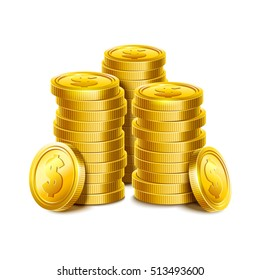 3d Gold coins illustration. Money award. Eps10 vector.