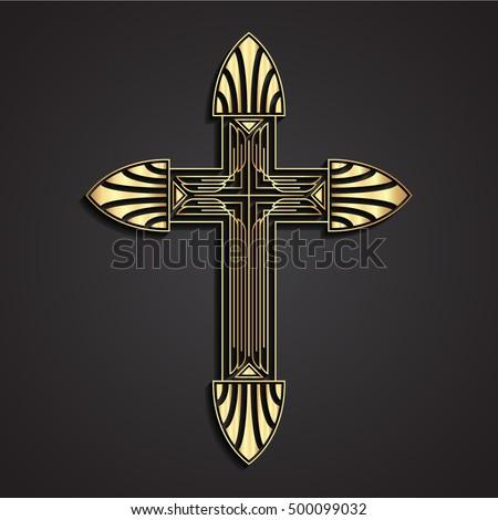 3d Gold Cross / Art Deco Stile