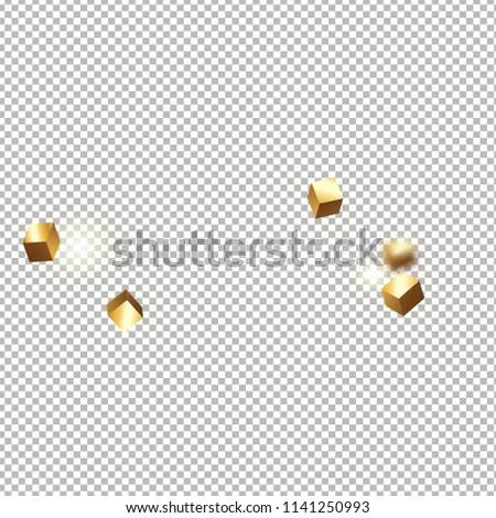 3 d gold cube confetti flying shiny stock vector royalty free