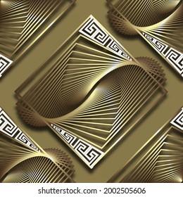 3d gold fractals seamless pattern. Vector ornamental elegant background. Repeat golden backdrop. Trendy creative ornaments. Abstract modern design. Greek key, meander, lines, shapes, fractal, shadows.