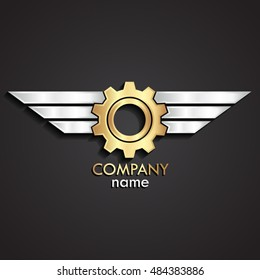 3d gold gear with silver wings logo